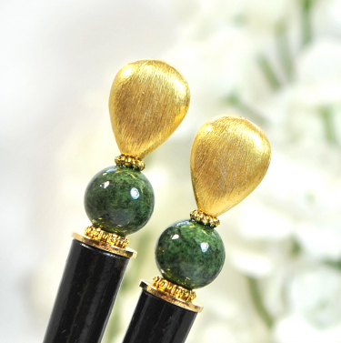 Gold and Green Hair Sticks