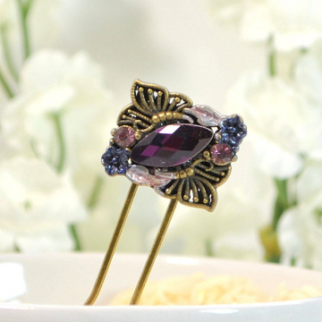 Small Butterfly Hair Fork, Decorative Purple Hair Slide