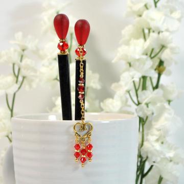 """Red Geisha Hair Sticks, Pair of 5 inch Japanese Bun Pins - """"Summer Love"""""""