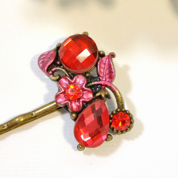 Red Flower Bobby Pin, Red Wedding Hair Pin, Floral Hair Clip, Hair Slide, Handmade Hair Accessories