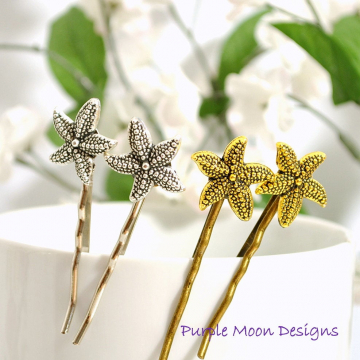 Gold Starfish Bobby Pin, Beach Hair Pin, Sea Star Bobbies, Beach Wedding Hair, Beach Barrette