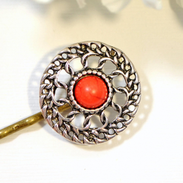Southwest Hair Pin, Hair Clip, South West, Bobby Pin, Red Sun, Handmade Hair Accessory