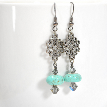 Blue Earrings, Dangle Earrings, Turquoise Blue Earrings, Your Choice of Leverback Earwires or Sterling Silver