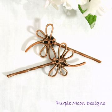 Dragonfly Hair Pin, Copper Bobbies, Dragonfly Hair Jewelry, Woodland Bobby Pins