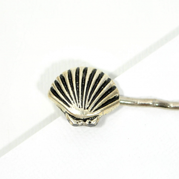 Silver Seashell Bobby Pin, Beach Hair Pin, Shell Hair Clip, Beach Hair Accessory
