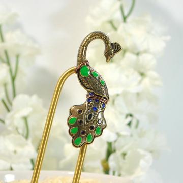 Peacock Hair Fork, Metal Hair Fork, Beaded Hair Pin, Peacock Jewelry, Hair Beads, Metal Hair Slide