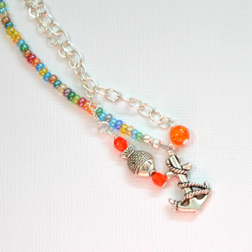 Beach Hair Charm, 11 inch Beaded Hair Chain with Your Choice of Snap Comb or U Pin