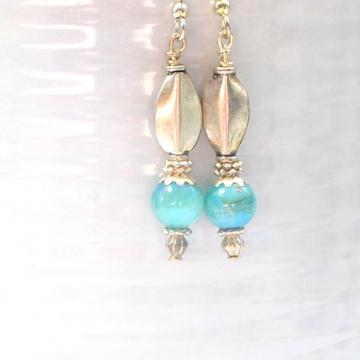 Blue Silver Earrings, Small Dangle Earrings, Handmade Earrings, Short Dangle Earrings, Your Choice of Leverback Earwire or Sterling Silver