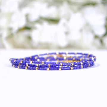 Purple Wrap Bracelet, 5 Wrap Bracelet, Multi-Layered Bracelet, Purple, Gold, Stacking Bracelet, 35-38 inch Bracelet Necklace