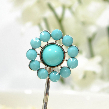 Blue Hair Pin, Blue Bobby Pin, Blue Sun Bobby Pin, Barrette, Handmade