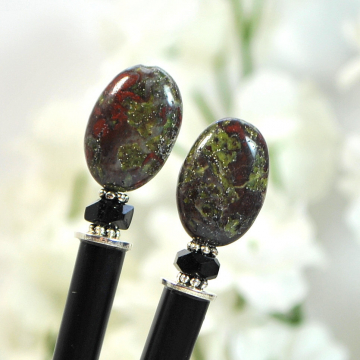 "Dragons Blood Jasper Hair Sticks, Pair of 4.75 inch Bun Pins - ""Sunfury"""