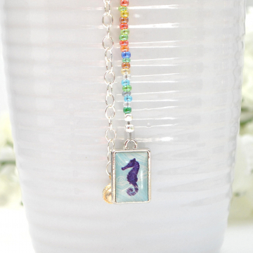 Seahorse Hair Charm, 12 inch Beach Hair Dangle with Your Choice of Snap Comb or U Pin