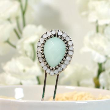Iridescent Hair Fork, Small Hair Pin, Beaded Hair Fork, Handmade Hair Slide, Embellished Hair Pin