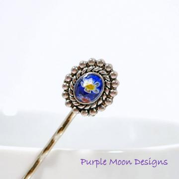 Blue Bobby Pin, Blue Hair Bead, Beaded Bobbies, Blue Bobbies, Beaded Bobby Pin, Blue Hair Pins, Handmade