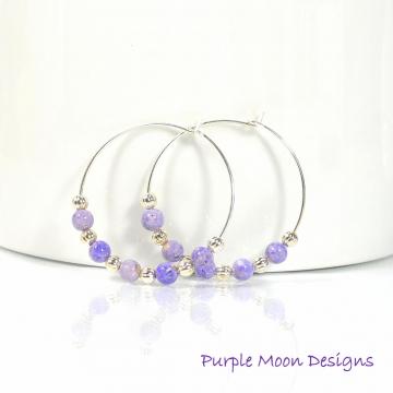 Purple Hoop Earrings, 1 inch Hoop Earring, Beaded Earrings, Handmade Earrings, Beaded Hoop Earrings, Lavender Hoops