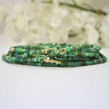 Green Stretch Bracelet, 10 Wrap Bracelet, Multi Wrap Bracelet, Green Bracelet, Layered Bracelet, Handmade, Stacking Bracelet