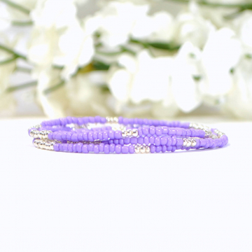 Purple Layering Bracelet, 3 Wrap Bracelet, 21-24 inch, Lavender, Multi-Layered Bracelet, Purple Stacking Bracelet, Beaded Bracelet, Handmade