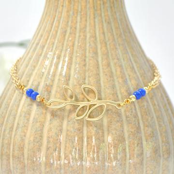Leaf Anklet, Charm Ankle Bracelet, Blue Gold Anklet, Woodland Ankle Bracelet, Charm Anklet, Handmade Anklet