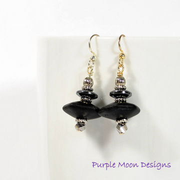 Black Earrings, Dangle Earrings, Drop Earring, Black, Silver, One of a Kind, Handmade Jewelry, Your Choice Lever Back or Sterling Silver