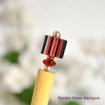 "Small Red and Black Hair Stick, 4 inch Bun Pin - ""Peek A Boo"""