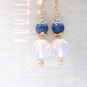 Moonstone Earrings, Blue Dangle Earrings, Agate Earrings, Handmade, Your Choice of Leverback Earwires or Sterling Silver