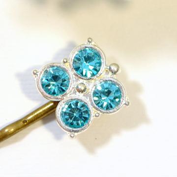 Light Blue Bobby Pin, Small Hair Pin, Crystal Hair Slide, Blue Hair Pins, Handmade, Something Blue
