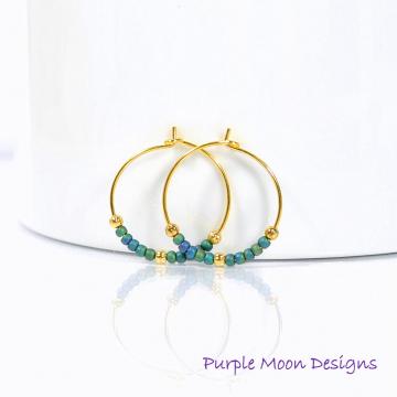 Hoop Earrings, Blue Gold Earrings, Small Hoop Earring, Beaded Earrings, Handmade Earrings, Peacock Blue