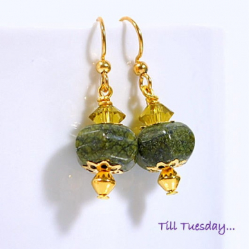 Green Gold Earrings, Small Earring, Drop Earrings, Gemstone Earrings, Dangle Earrings, Handmade Earrings, Lever Back Earring or Gold Filled