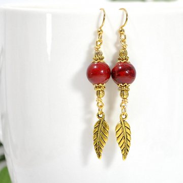 Feather Earring, Leaf Earrings, Dangle Earrings, Drop Earrings, Red, Gold, Handmade Jewelry, Your Choice of Leverback or Gold Filled Earring