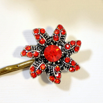 Flower Bobby Pin, Red Bobby Pins, Flower Bobbies, Red Hair Pins, Hair Accessories, Date Night Bobby Pin