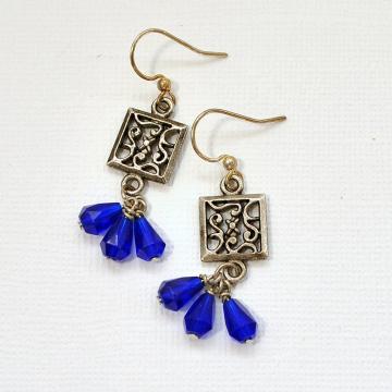 Blue Earrings, Dangle Blue Earring, Small Blue Earrings, Small Dangle Earrings, Your Choice of Leverback or Sterling Silver