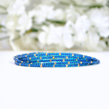 Multi-Layered Bracelet, Blue 5 Wrap Bracelet, Blue, Gold, Stacking Bracelet, Beaded Bracelet, 36-39 inch Bracelet Necklace