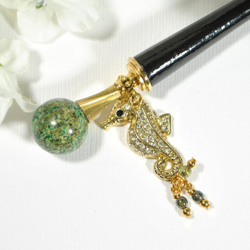 """Seahorse Hair Stick, 5 inch Charm Bun Pin - """"A Different Perspective"""""""