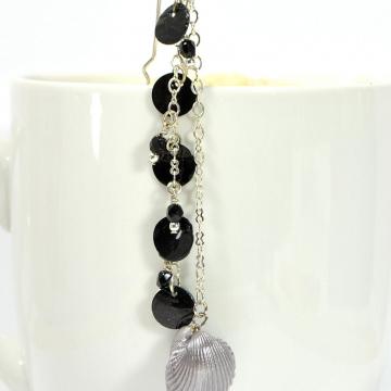 Black Hair Charm, Seashell Hair Beads, Hair Chain, Beaded Hair Charm, Beaded Hair Fork, Geisha Hair Pin, Snap Clip or U Pin