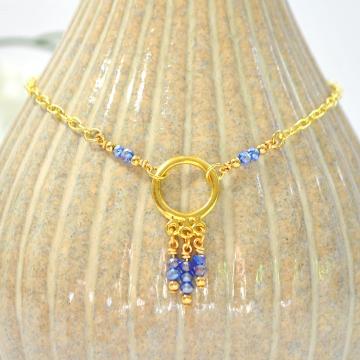 Blue Charm Anklet, Charm Ankle Bracelet, Gold Blue Anklet, Beaded Anklet, Circle Anklet, Handmade Charm Anklet, Chain Anklet