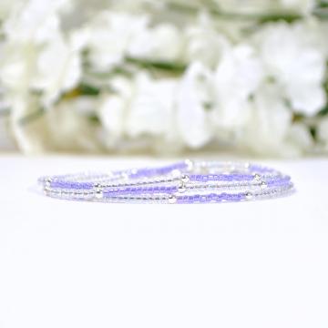 Layering Bracelet, Purple Wrap Bracelet, 3 Wrap Bracelet, Lavender, Multi-Layered, Stacking Bracelet, 21-24 inch, Handmade Jewelry