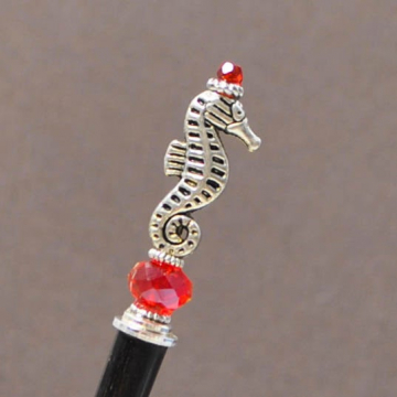 "Seahorse Hair Stick, Short Beach Hair Chopstick - ""Rogue Queen"""