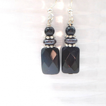 Black Earrings, Small Dangle Earrings, Onyx Earrings, Black Silver Earrings, Handmade Earrings, Your Choice of Leverback or Sterling Silver