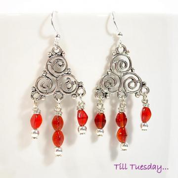Celtic Earrings, Red Silver Earrings, Chandelier Earrings, Dangle Earrings, Celtic Jewelry, Trinity, Lever Back Earring or Sterling Silver