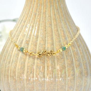 Woodland Anklet, Leaf Ankle Bracelet, Charm Anklet, Green Leaf Anklet, Green Gold Ankle Bracelet, Ankle Bracelet,  Handmade Anklet