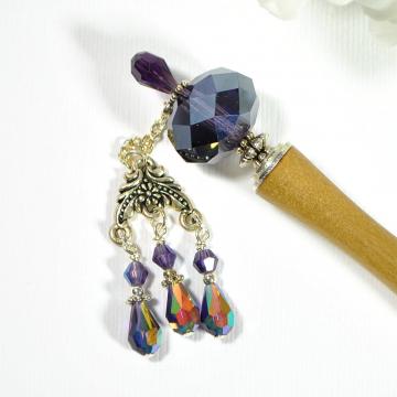 "Purple Charm Hair Stick, 5 inch Geisha Bun Pin - ""Rogue"""