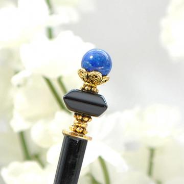 """Hair Chopstick, Hair Stick, Black Blue Hairstick, Hair Pick, Beaded Hair Stick, Chinese Hair Pin - """"Courageous Heart"""""""