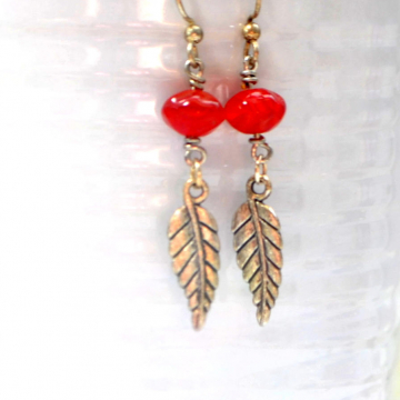 Feather Earrings, Dangle Earrings, 2 inch Earrings, Red Silver Handmade, Your Choice of Leverback or Sterling Silver