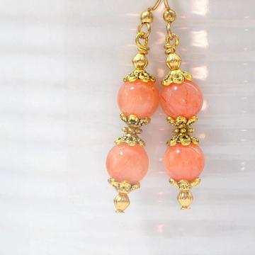 Pink Earrings, Dangle Earrings, Pink Gemstone Earrings, Handmade Jewelry, Your Choice of Leverback or Gold Filled