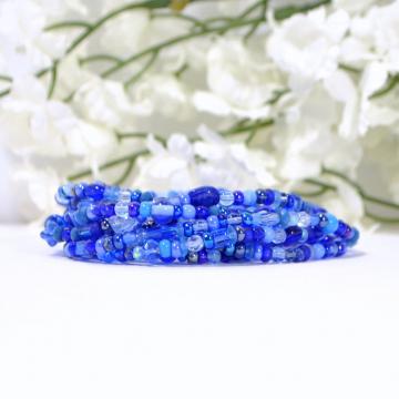 Wrap Bracelet, Blue Stretch Bracelet, 9 Wrap Bracelet, Blue Layering Bracelet, Handmade Stacking Bracelet