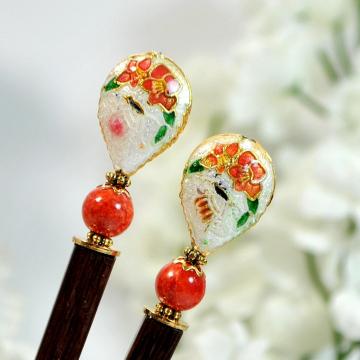 "Cloisonne Hair Chopsticks, Pair of Hairsticks, 4.75 inch Handmade Hair Sticks - ""Nicoline"""