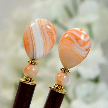 "Apricot Agate Hair Sticks, Pair of 4.75 inch Hairsticks - ""Myla"""