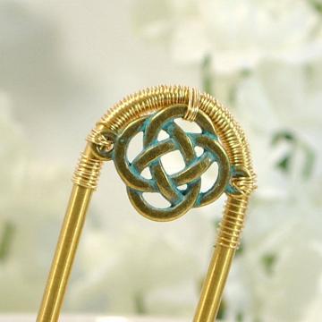Celtic Hair Fork, 3 inch, Celtic Jewelry, Hair Accessories, Handmade, Celtic Hair Slide