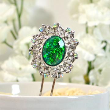 Green Decorative Hair Fork, 2 inch Dragon Eye Jewelry