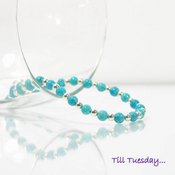 Turquoise Blue Bracelet, Beaded Bracelet, Light Blue with Silver Accents, Handmade Bracelet, Prom Jewelry, Something Blue
